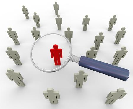 3d vergrootglas zoeken mensen. Concept van het zoeken mensen of werknemer