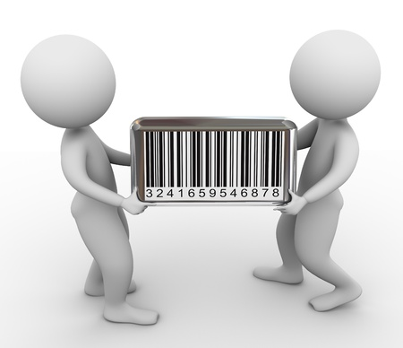 barcode scanning: 3d people carrying barcode box. Stock Photo