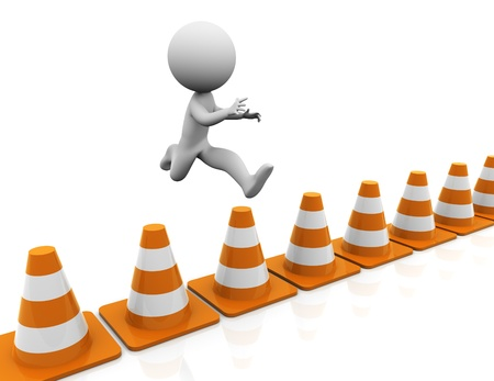 overcome: 3d man jumping over traffic cones Stock Photo