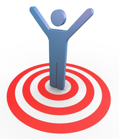 3d man on target with hands up in the air. Concept of  successful goal achievement photo