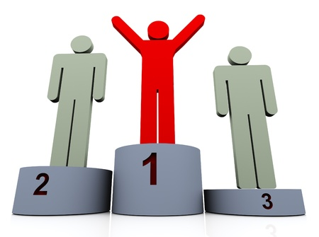 leading: 3d man winner celebrating on podium. Concept of first, second and third place. Stock Photo