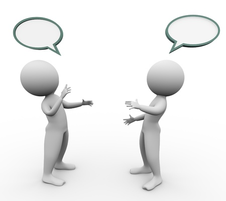 3d men with empty speech bubbles above them. Stock Photo - 10907092