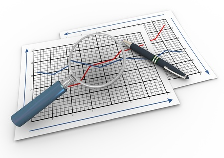 3d render of pen and magnifying glass hovers over business graph papers. Stock Photo