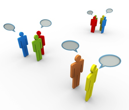 family discussion: 3d people in group with speech bubble. Concept of online group discussion, forum, chat,  social network etc. Stock Photo