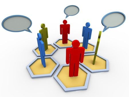 3d people in group with speech bubble. Concept of online group discussion, forum, chat, social network etc.  photo