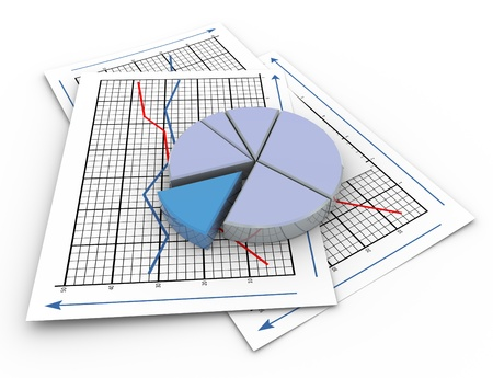 monthly salary: 3d render of pie chart on a paper sheet containing sales graph.