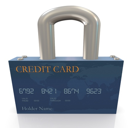 secure payment: 3d render of credit card protection concept  Stock Photo