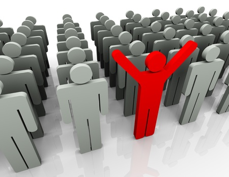 special individual: 3d man stand out of the crowd. 3d render of unique and leadership concept