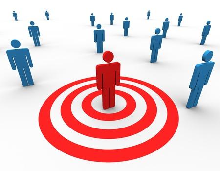 target business: 3d un hombre �nico rojo blanco entre la multitud Foto de archivo