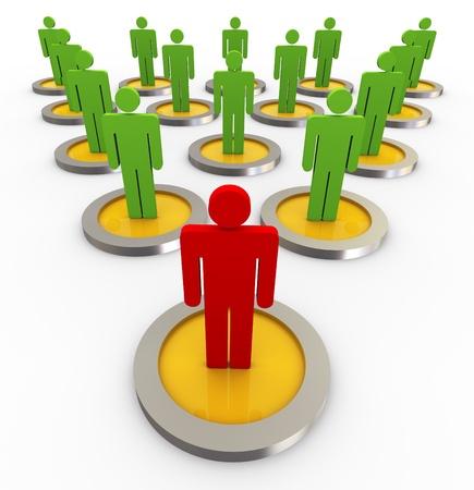 líder 3D con sus seguidores en una estructura de gráfico de la organización.