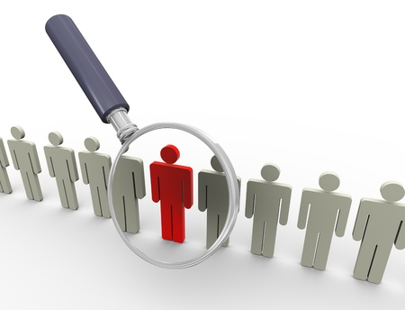 focus group: 3d magnifying glass hovers over unique red man. Concept of searching people or employee