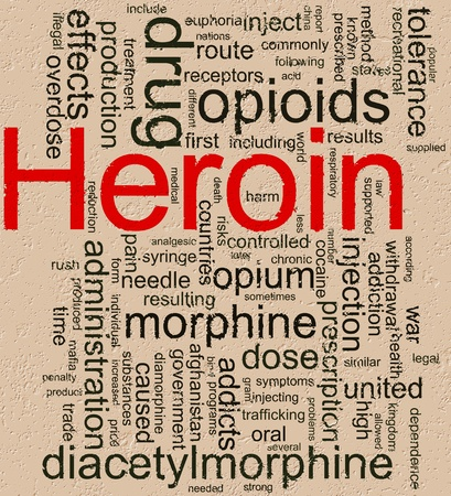 drug dealers: Illustration of wordcloud related to word heroin on rocky background