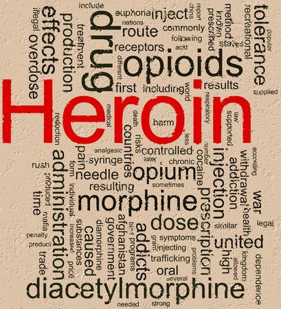 """sobredosis: Ilustraci�n de wordcloud relacionadas con """"hero�na"""" la palabra sobre fondo rocoso"""