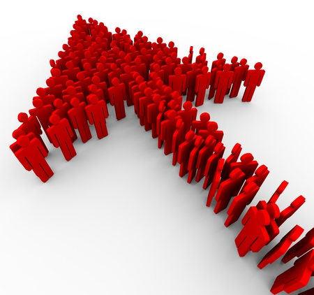 move forward: 3d render of arrow made up of people