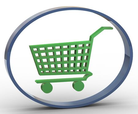 product cart: 3d render of shopping cart icon