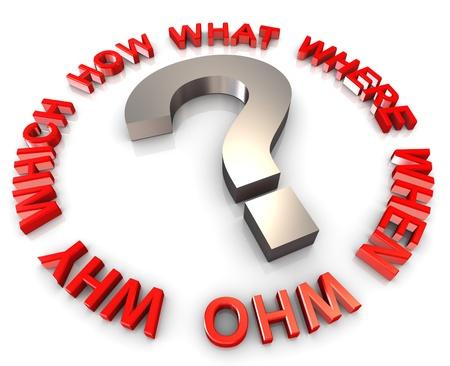 onbeantwoorde: 3d vraagteken omringen met vraagwoorden Stockfoto