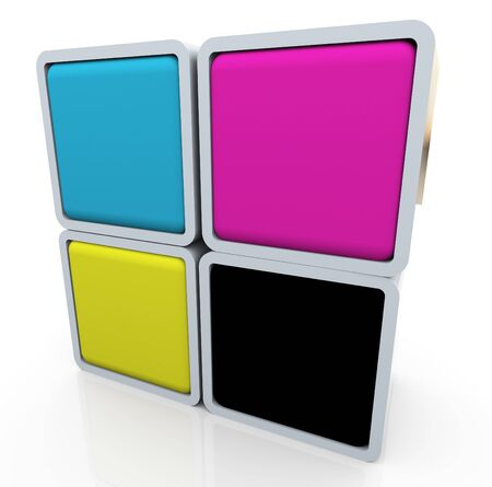 polygraphic: 3d render of colorful box of cymk (cyan magenta yellow black) colors Stock Photo