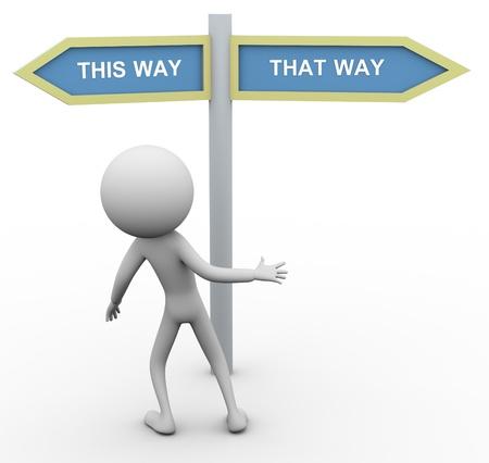 cruce de caminos: 3d confundir duda el hombre sobre la elección de manera correcta. Foto de archivo