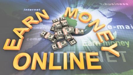 earn: 3d de los paquetes de d�lares de dinero en l�nea con el texto ganan Foto de archivo