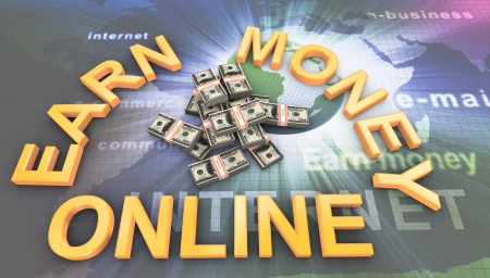 win money: 3d render of dollar packs with text earn money online Stock Photo