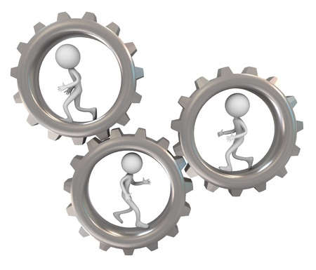 3d render of running man inside chrome gear. Concept of team work photo