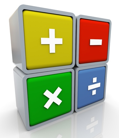3d render of colorful box of math operations signs. Stock Photo - 10991949