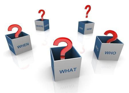 onbeantwoorde: 3d open vragen woorden dozen met rode vraagtekens Stockfoto