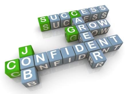 competencias laborales: 3d de crucigrama relacionado con trabajo exitosa