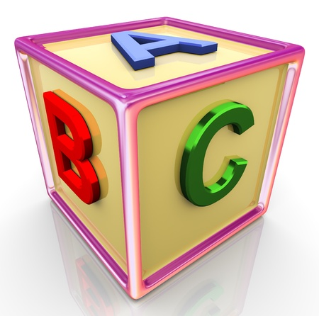 english text: 3d reflective colorful abc cube