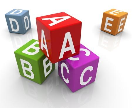 abc blocks: 3d reflective colorful abc boxes