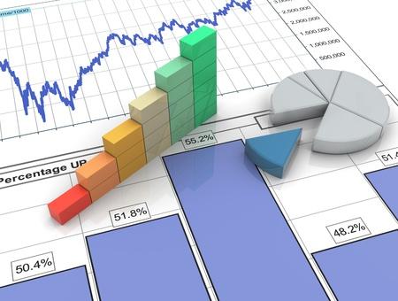 스프레드 시트: 3D 진행률 표시 줄 및 재무 분석 보고서에 원형 차트 스톡 사진
