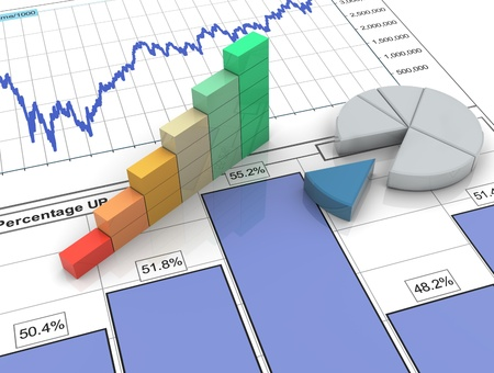 market analysis: 3d progress bar and pie chart on financial analysis report
