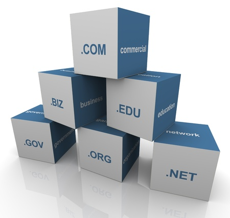 3d pyramid of popular domain name extensions photo