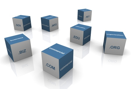 domain: 3d boxes with popular domain name extensions