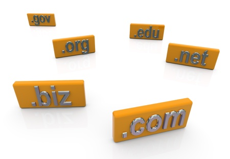 extensions: 3d render of domain name extensions Stock Photo