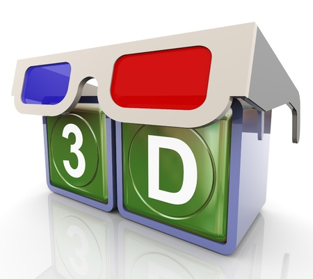 visual perception: 3d render of 3d glass with 3d text box Stock Photo