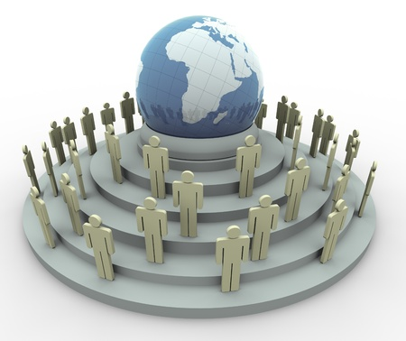 3d people around the globe. Concept of global communication photo