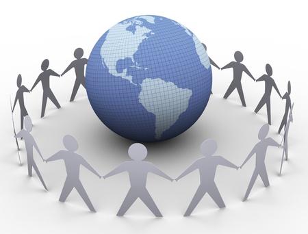 la union hace la fuerza: 3d de la gente de papel en un círculo alrededor del globo Foto de archivo