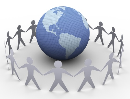 3d render of paper people in a circle around globe Stock Photo - 11074209