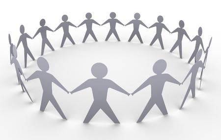 la union hace la fuerza: 3d de personas en un círculo de papel