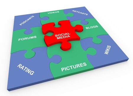 3d render of solved social media puzzle photo