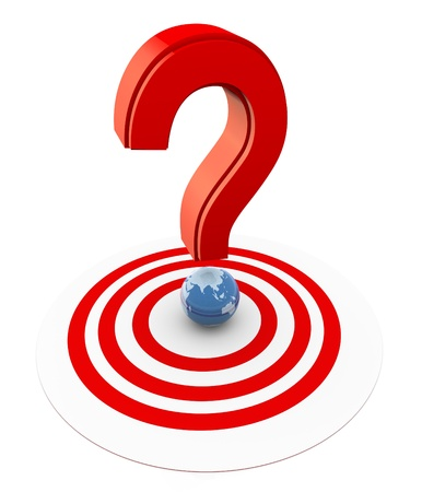 target thinking: 3d question mark with globe on the target Stock Photo