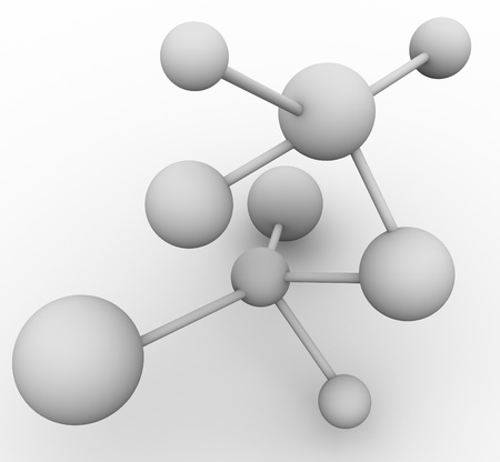 chemistry formula: 3d render of molecule on white background