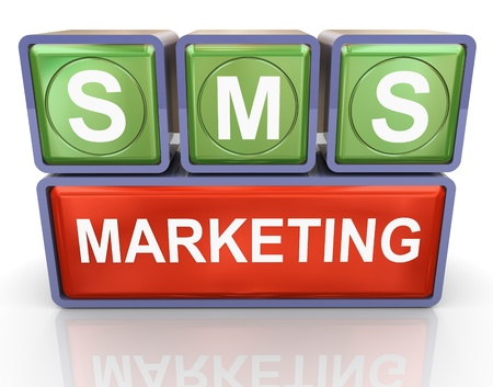 sms: 3d render of buzzword sms marketing