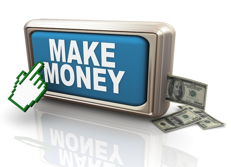 money making: 3d render of hand cursor clickng on make money button