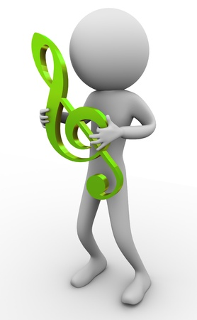 notation: 3d man holding music score clef on his hand
