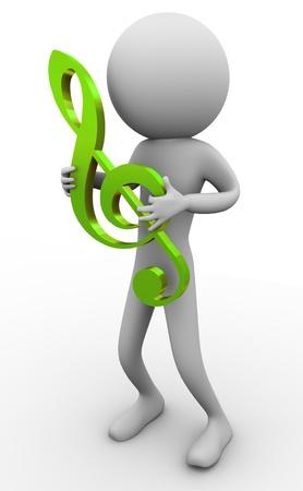 partition musique: 3d man tenant clef partition � sa main