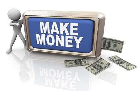 ertrag: 3D-Darstellung von Menschen, Geld zu verdienen Geld verdienen mit Taste Lizenzfreie Bilder