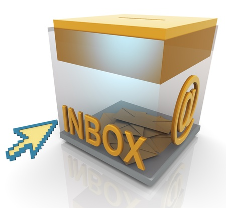 inbox: 3d render of transparent inbox and mouse pointer Stock Photo