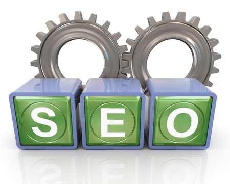 3d reflective box of seo (search engine optimization) with gears photo
